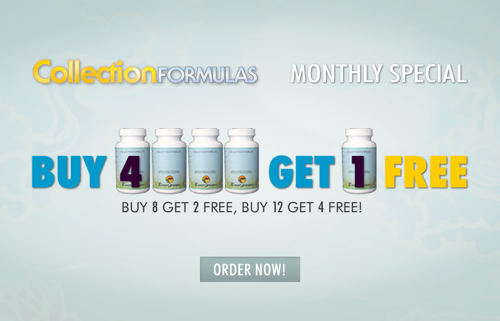 Buy 4 Get 1 Free Monthly Special on Evergreen Collection Formulas